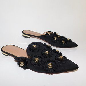 Aquazzura Black studded fringe point toe mules 37.